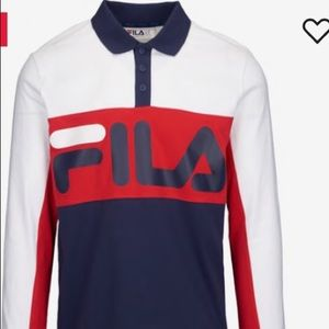 Fila Long Sleeve Collard Shirt Sz M